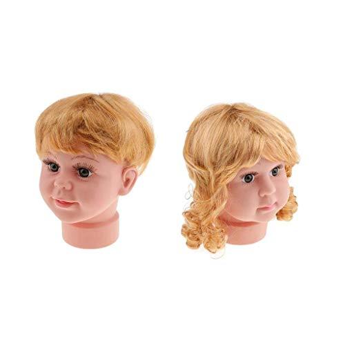 Tubayia 2 Stück Mädchen Und Junge Mannequinenköpfe Schaufensterpuppe Dekokopf Mit Perücken Für Hüte/Sonnenbrillen Display
