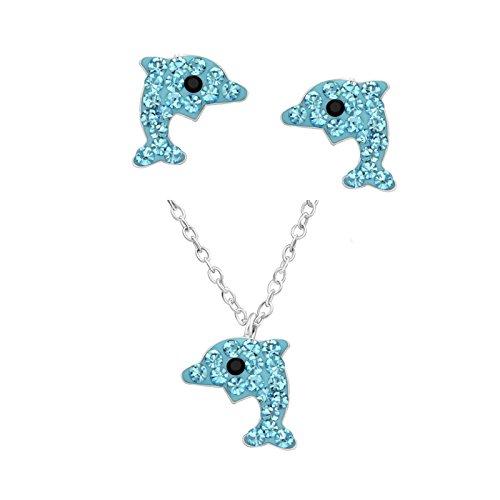Sl-silver set di collana con pendente 40cm orecchini cristallo delfino in argento 925con custodia in regalo e argento, colore: hellblau, cod. set141