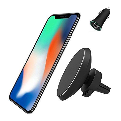 Neotrix Qi Magnetisches, kabelloses Auto-Ladegerät-Halterung, Standard-Handy-Lüftungs-Magnet, KFZ-Halterung für Samsung Galaxy S9 S8 S7 S6 Edge und iPhone X 8 und andere Qi-fähige Android-Handys (Magnetische Handy-ladegerät)