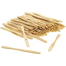 Prakritii cultivating green Bamboo Fruit Picks/Mini Cocktail Forks (Brown) - Pack of 100