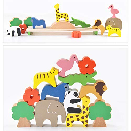 pengxiaomei Wooden Balance Stacking Blocks,Wooden Balance Blocks Animals Stacking Blocks balance blocks for kids