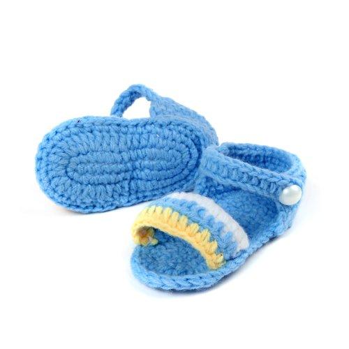 JTC Bébé Chausson Sandale Unisexe Tricoté pour Premier Pas(Longueur:11CM)-4 Couleurs (cyan) bleu