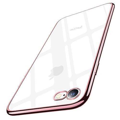 Cover iPhone 7, Cover iPhone 8, Joyguard Custodia iPhone 7/8 con [Protezione per schermo in vetro temperato (*2)] Trasparente Silicone TPU con Paraurti di Effetto Metallico - Rosa