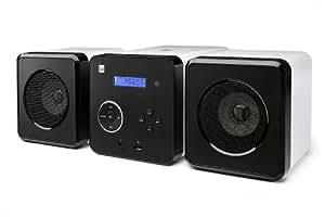 Dual ML 11 Stereoanlage (MP3/CD-Player, USB, PLL-FM-Radio, Stationsspeicher, 3,5mm Kopfhöreranschluss, Sleep-/Snooze-/Alarmfunktion, Fernbedienung) schwarz/weiß