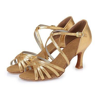 Silence @ Chaussures de danse pour femme en similicuir en similicuir Latin talons Stiletto Talon d'intérieur Rouge/doré Cl29Cl43 doré