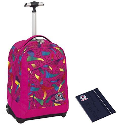 Trolley invicta + cartellina a4 - multicolore mix - rosa - spallacci a scomparsa! zaino 35 lt scuola e viaggio