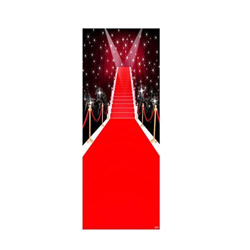 LOVIVER 3D Tür Aufkleber Wandtattoo Selbstklebende Wandbild Abnehmbare Dekoration - # 5 Red Carpet Bühne
