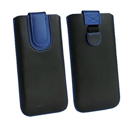 emartbuy Schwarz/Dunkelblau Premium-Pu-Leder-Slide In Case Abdeckung Tashe Hülle Sleeve Halter (Größe F) Mit Zuglaschen Mechanismus Kompatibel mit Die Unten Aufgeführten Smartphones