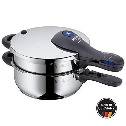 WMF Perfect Plus Schnellkochtopf Set, 2-teilig, 4,5 l und 3,0 l, Cromargan Edelstahl poliert, 2 Kochstufen, Einhand-Kochstufenregler, Flammschutz, Induktion (Einhand-set 3)