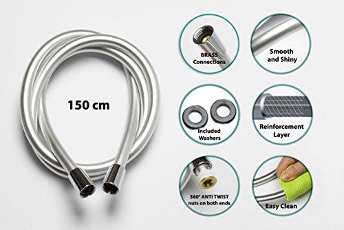 Krodo 1.5m Argento – Tubo Flessibile per Doccia in PVC di Ricambio Universale, Antipiega e a prova di perdite confronta il prezzo online