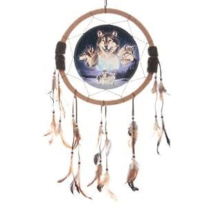 Attrape-rêves et loup pleine lune avec Loups cadeaux et cartes de fête des pères, jour, idée cadeau pour occasions, idée cadeau