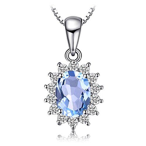 Jewelrypalace Prinzessin Diana William Kate 2.3ct Natürliche Blau Topas 925 Sterling Silber Halo Anhänger Halskette 18 Zoll
