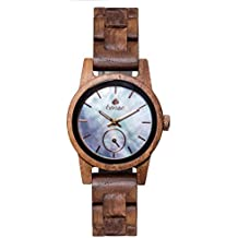 Premium en bois horloge Tense Womens Hampton (fabriqué en Canada)–Bois de Noyer/Bleu Nacre ziffernbl.–Montre Femme m4700W de BMOP