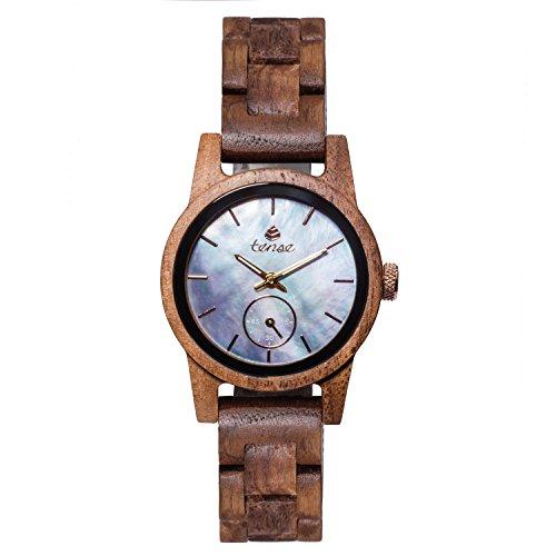 TENSE Damen Holzuhr analog Quarz-Armbanduhr Walnuss blaues