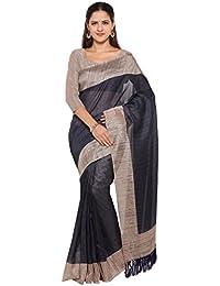 Rajnandini Women's Tussar Silk Plain Saree(JOPLNB3006E_Navy Blue_Free Size)