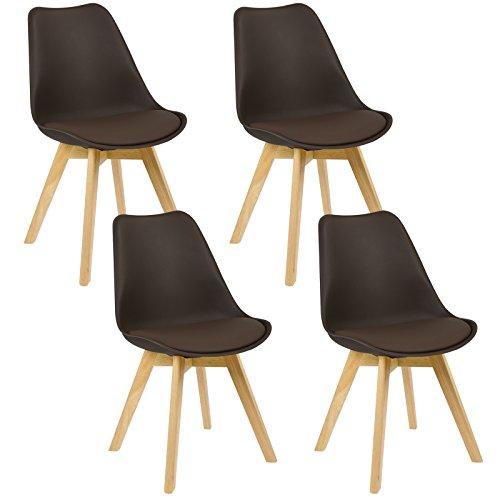 WOLTU 4er Set Esszimmerstühle Küchenstuhl Design Stuhl Esszimmerstuhl Kunstleder Holz Neu Design...