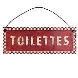 EC C&E Toilette, Segnale in Metallo, Rosso con Scritta Bianca, Retro Vintage Stile con Appendiabiti, 20 x 7 cm