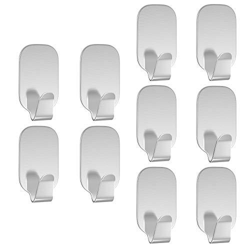 Luxspire 10 STK. 3M Selbstklebender Haken, Handtuchhaken Wandhaken Stick Halter aus 304 Edelstahl für Küche Badezimmer Tür usw.