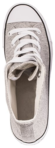 Elara Unisex Kult Sneaker | Bequeme Sportschuhe für Damen und Herren | High top Textil Schuhe 36-47 Grau