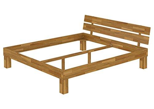 Erst-Holz® Futonbett Französisches Bett 140x200 Doppelbett Eiche-Bettgestell massiv ohne Rollrost 60.88-14 oR