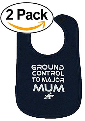 Baby Moo Ground Control to Major Mum® Baby Lätzchen-David Bowie Baby Lätzchen/Ziggy Stardust Baby Jungen oder Mädchen Geschenk-eine ideales Baby Geschenk oder Strumpffüller für Weihnachten Idee