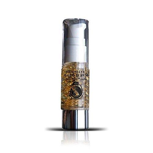 Or Sérum Elixir de réparation de la peau du visage, Finest plus exquis pur 24k émietté Feuille Ultimate Serum Facial fusionné avec collagène. Meilleur plus efficace Sérum disponible.