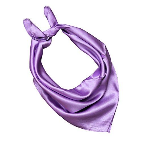 OULII Halstuch Damen Seide Vierecktuch Normallack Seidentuch weicher Schal (Helles Lila) (Seide Kopf Binden)
