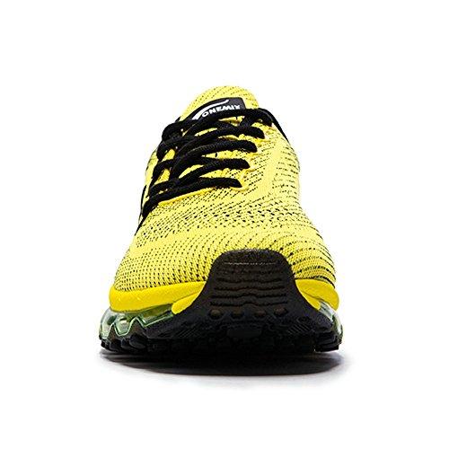Onemix Homme Femme Air Amortissement Baskets Mixte Adulte Respirante Fitness Gym Running Chaussures Noir jaune