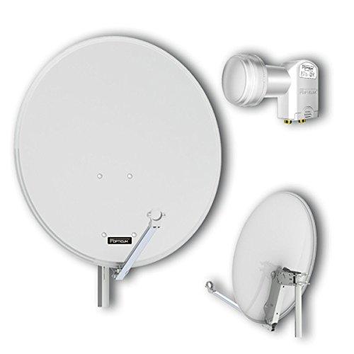 Opticum QA80, Antenna satellitare in alluminio con Twin LNB, Grigio Chiaro