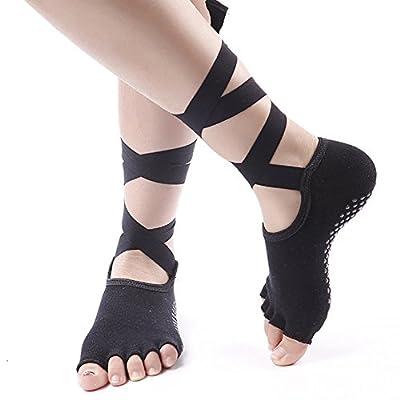 NNIUK Yogasocken Open Toe Socks Rutschfeste Skid Straps Socken für Yoga, Ballett, Pilates, Fitness, Dance, Gym - 1 Paar