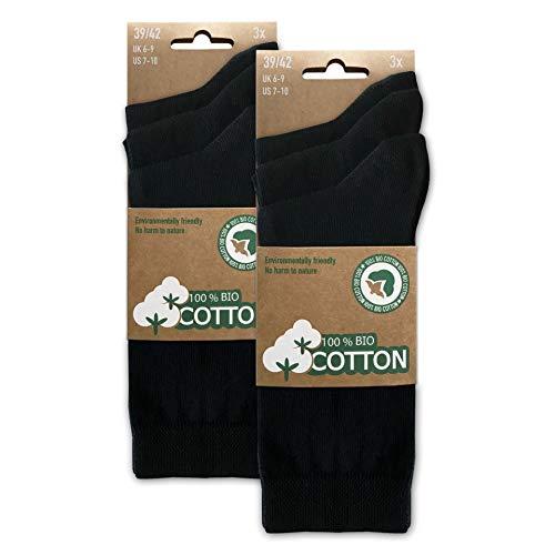 BIOBASICS Herren & Damen 100% BIO Baumwolle Socken Sensitiv Komfortbund Business-Socken Gesundheitssocken ohne Gummi (6 Paar) Schwarz 39-42