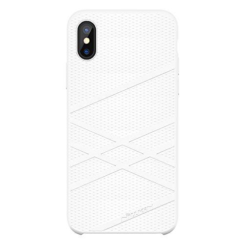 iPhone X Silikon Hülle, Nillkin Flex Series Silikon Gel Rubber HandyHülle Stoßfestes Shockproof Case Cover mit einem weichen Mikrofasertuch Futter Kissen für Apple iPhone X 5.8 Zoll (Blau) Weiß