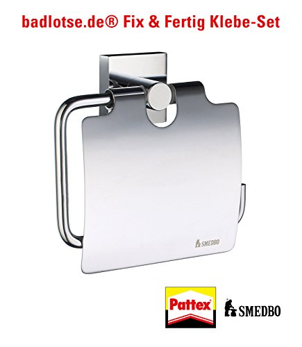 SMEDBO HOUSE glänzend WC-Papier-Halter Rollenhalter RK3414 Klebe-Set ohne Bohren (Design House Wc-papier-halter)