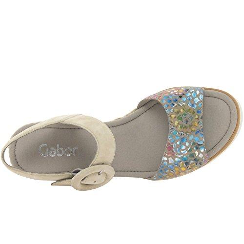 Damen Sandalette Gabor beige mehrfarbig aus Leder von Größe 38 bis 40 Flower Stamp