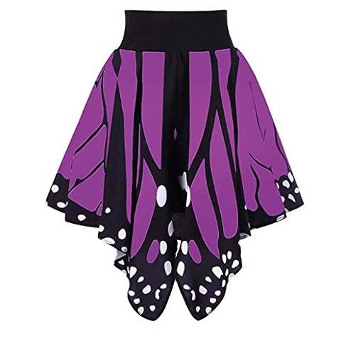 Gedruckter Schmetterling punktierter Rock VENMO Frauen Butterfl Shape Print High Taille Kleid Eleganter Maxi Mini Kurzer Rock (S, Purple)