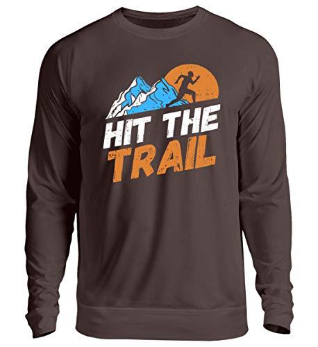 Shirt-o-Topia DE Hit The Trail Trailrunning Berglauf Geschenk für Extrem Läufer - Unisex Pullover -XXL-Schokolade - Extreme Xxl Schokolade