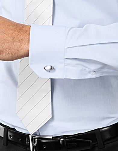 Vincenzo Boretti Herren-Hemd Bügelfrei 100% Baumwolle Slim-Fit Tailliert Uni-Farben - Männer Lang-Arm Hemden für Anzug mit Krawatte Business Hochzeit Freizeit Hellblau