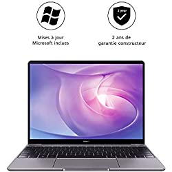 "HUAWEI MateBook - PC Portable - 13"" écran FullView (Intel Core i7, RAM 8Go, SSD 512Go, Windows 10 Home, Clavier Français AZERTY) - Gris"