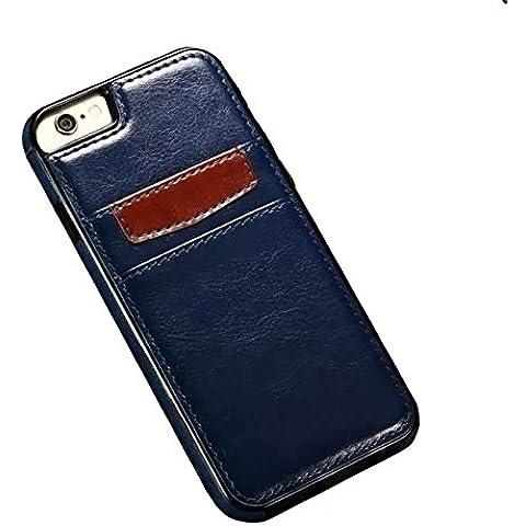 Ducomi® Duke of Palma custodia protettiva con tasca porta carte di credito in vera pelle compatibile con iPhone 6 6s (Blue)