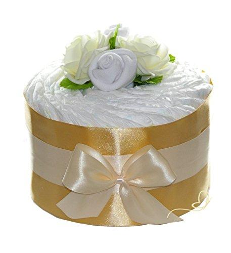Pampers Windeltorte Rosenblüte gold - Neutrales Geschenk zur Geburt, Babyparty und Taufe