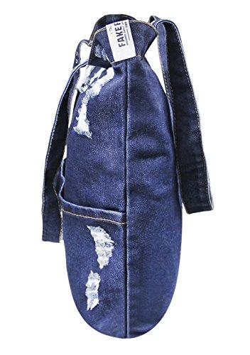 Damen Jeans Canvas Leinwand Umhängetasche Messenger Bag Handtasche Schultertasche Tasche Löcher Muster Hellblau & Dunkelblau #3