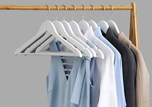 Percha de madera blanca para pantalones, trajes y ropa (lote de 20 perchas)