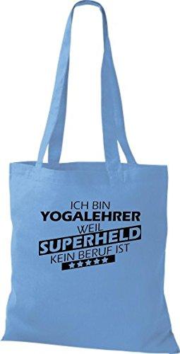 Stoffbeutel Ich bin Yogalehrer, weil Superheld kein Beruf ist Sky