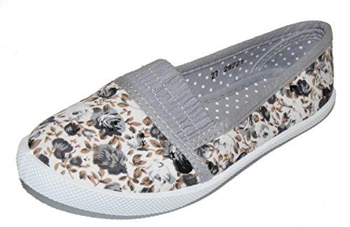 tmy 29221enfants Chaussures basses/Ballerine, Couleur Gris avec fleurs Print Taille: 24–35 Multicolore - Gris