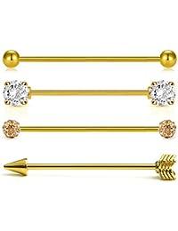 96a2b59c83 Vcmart 4pcs 316L Acero quirúrgico Industrail Piercing Barras Set 38 mm 14  Gauge Jewellery