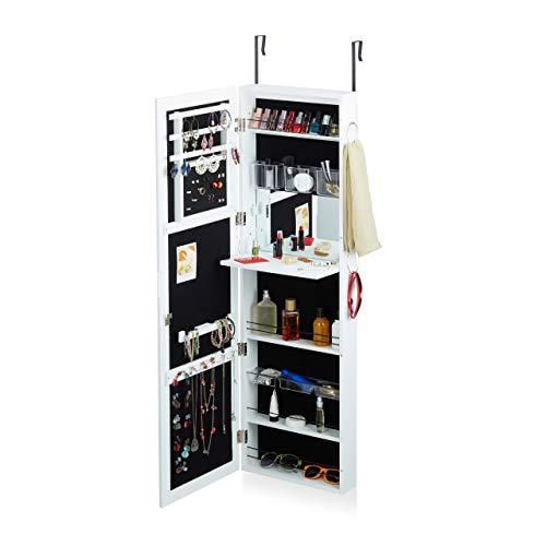 Relaxdays Schmuckschrank mit Spiegel abschließbar, Spiegelschrank groß hängend für Tür, HxBxT: 120 x 38,5 x 10 cm, weiß