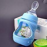 Babyflasche - kleine Glasflasche mit großem Durchmesser - Mini Neugeborene 60ml weicher Silikonlöffel 150ml