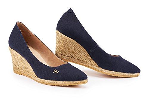 VISCATA Barcelona Damen Rosa, Blau - Azul - Azul Marino - Größe: 37 EU M (Wedge Blaue Strap Ankle)