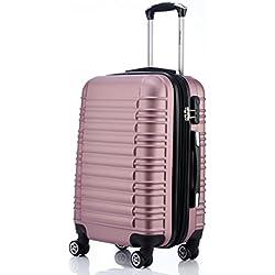 BEIBYE Zwillingsrollen Reisekoffer Koffer Trolleys Hartschale in XL-L-M in 14 Farben (Rosa, L)
