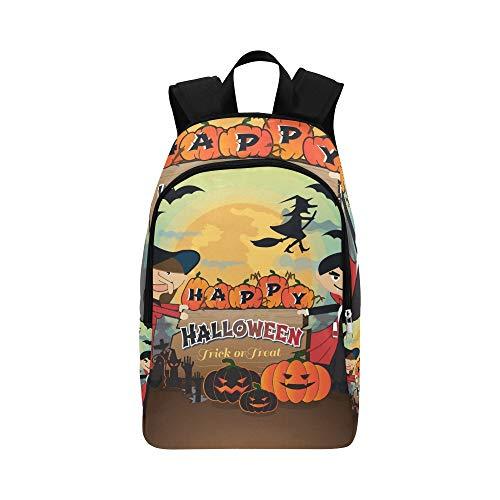 Happy Halloween Scary Creepy Pack Trick Lässige Daypack Reisetasche College School Rucksack Für Männer und Frauen